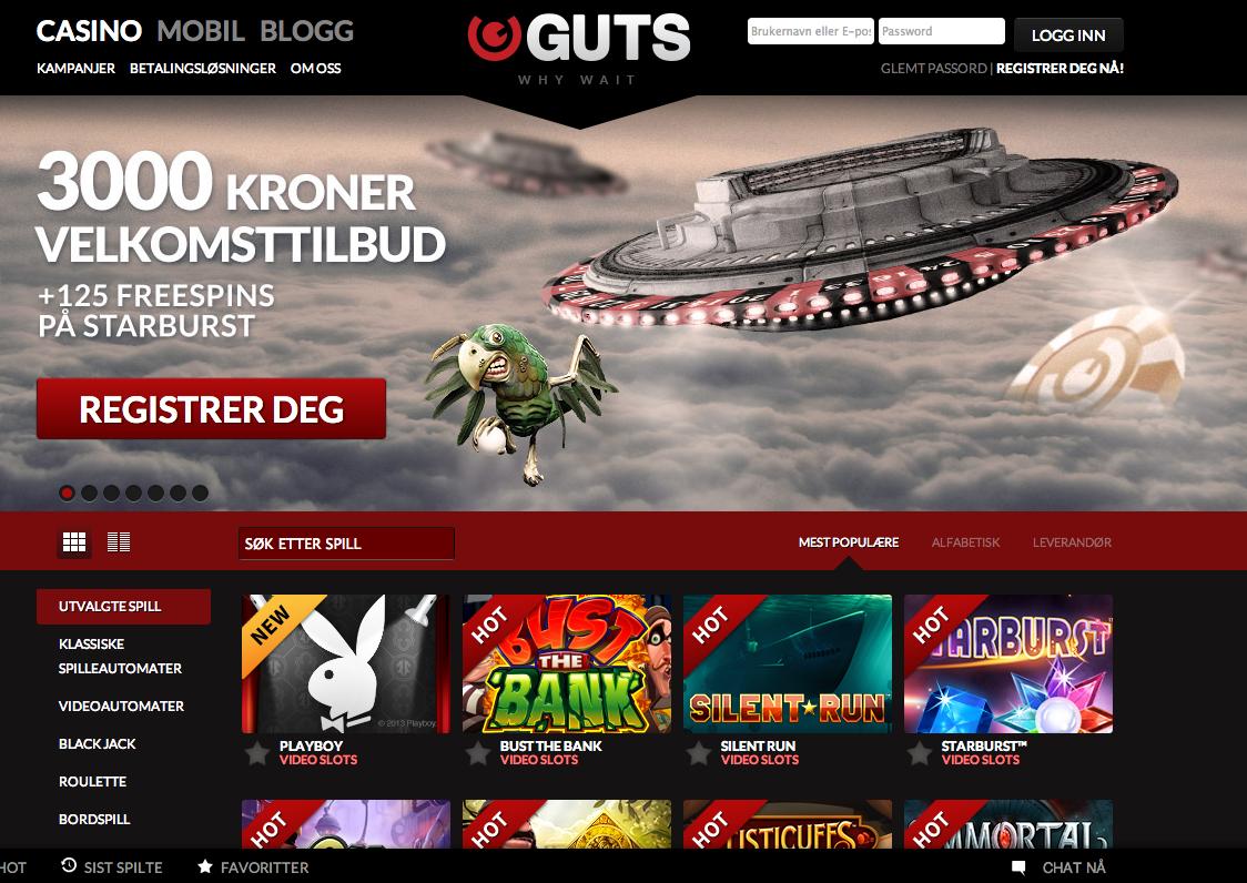 Guts casino free spins code